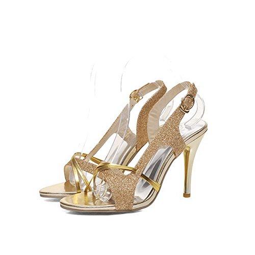 Amoonyfashion Kvinna Fast Paljetter Spikar Stilettos Öppen Tå Spänne Krängt-sandaler Guld