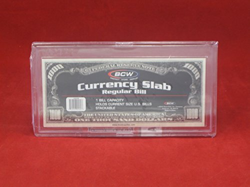- (10) US Currency Paper Money Bill Protector Slab Holder for Regular Bills by BCW