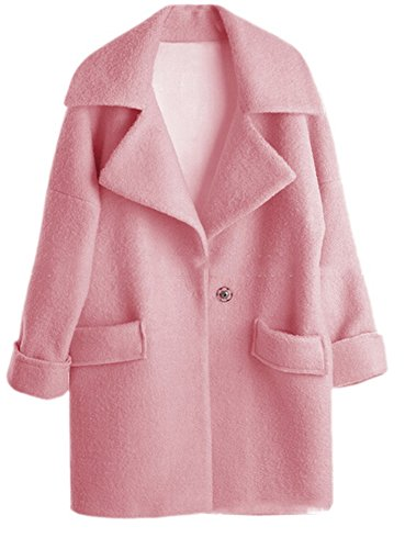 Allbebe Women's Slim Loose Cashmere Long Overcoat Wool Outwear Coat Pink (Pink Coat)