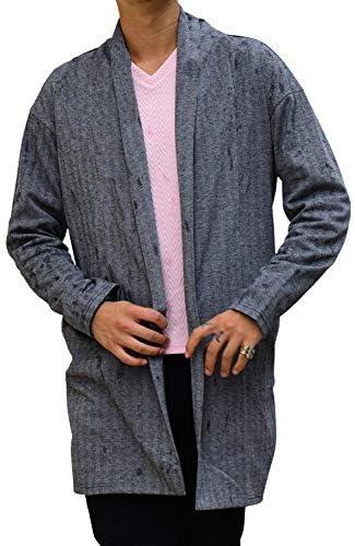 ロングカーディガン メンズ 羽織 チェック柄 ショール 長袖