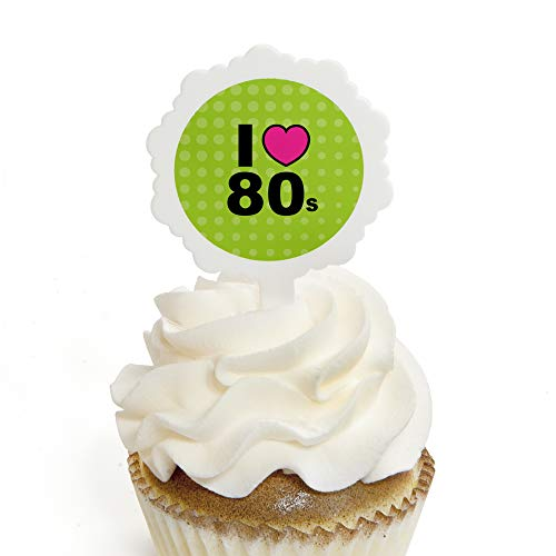 80's Retro - Cupcake Picks with Stickers - Totally 1980s Party Cupcake Toppers - 12 Count ()