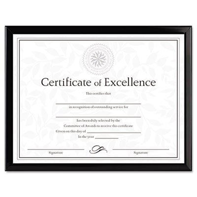 Value U-Channel Document Frame w/Certificates, 8 1/2 x 11, Black, Sold as 1 Each - Value U-channel Easel