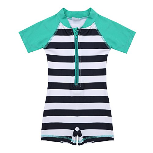 CHICTRY Baby Boy Girl One-Piece Stripes Sun Protective Swimsuit Rash Guard Swim Set Green&Navy Blue 0-3 Months