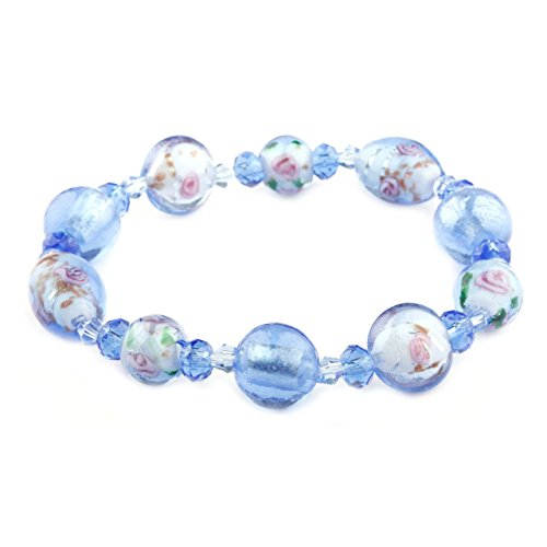 Lola Collection Periwinkle Murano Glass Bracelet - Murano Glass Stretch Bracelet
