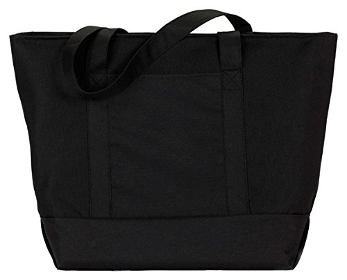 UltraClub® Zippered Polyester Tote Bag - Black/ (Large Polyester Tote Bag)