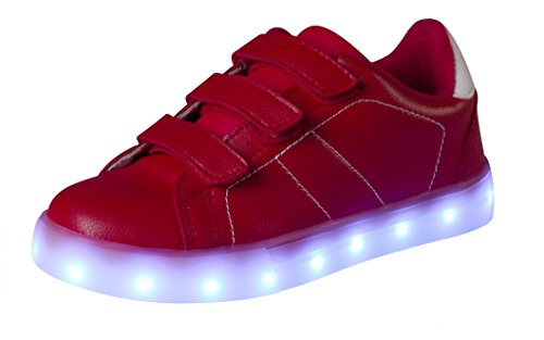 Passionow Kids Light Up Casual Shoes Flashing Luminous Velcro LED PU Leather Sneakers for Boys Girls (Red, 10 M US Toddler)