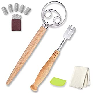 Bread Lame and Danish Dough Whisk 10 in 1 with Proofing Cloth Plastic Dough Scraper 5 Replacement Blades And Leather Protective Cover for Artisan Homemade Bread Premium Gift