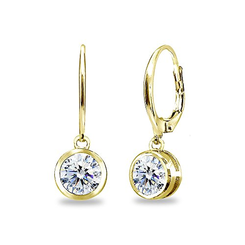 Yellow Gold Flashed Sterling Silver 6mm Round Bezel-Set Dangle Leverback Earrings Made with Swarovski Zirconia
