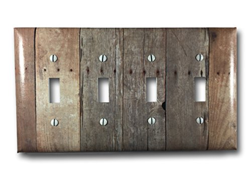 [Barn Wood Design Quad Four Toggle Light Switch Wall Plate] (Quad Light Switch Cover)