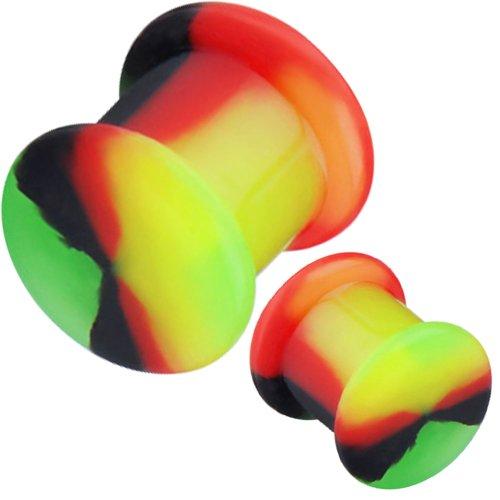 sh Tunnels Flesh Tunnel Screw Double Flare Flared Ear Plugs Stretcher Expander Silicone Body Piercing Jewelry Ear Plug Earlets 0 G Gauge Expanders Ears Earring Earrings Pair Black White Blue Red Green Orange Pink Purple (Rasta) (0g = 8mm) ()