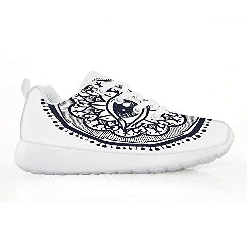 TecBillion Chakra Comfortable Running Shoes,Eastern Spiritual Design with Lotus Flower Petal Mystical Powers of Nature Print for Kids Boys,EU31