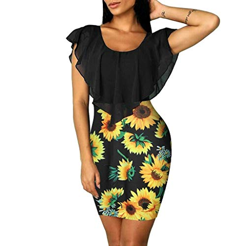 EINCcm Women Floral Print Pencil Dress, Ruffle Batwing Cape Bodycon Dress Slim Fit Casual Tight Dress for Women's Gift (Black, S)
