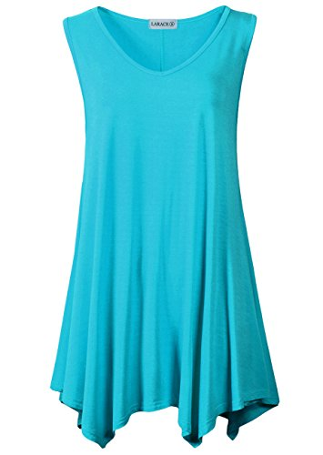 (LARACE Women V-Neck Tank Top Tunic for Leggings(1X, Lake Blue) )
