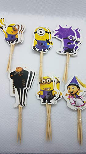 KBN Minions Cupcake Toppers 24 Pc Quality Birthday Party Supply Cartoon -
