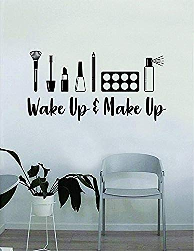 Wake up and Make up V5 Quote Beautiful Design Art Eyebrows Eyelashes Lashes Cosmetics Beauty Salon Mua Wall Decals Decor Vinyl Sticker SK11175