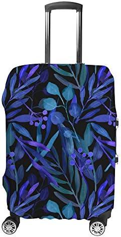 スーツケースカバー 黒背景 青の葉 伸縮素材 キャリーバッグ お荷物カバ 保護 傷や汚れから守る ジッパー 水洗える 旅行 出張 S/M/L/XLサイズ