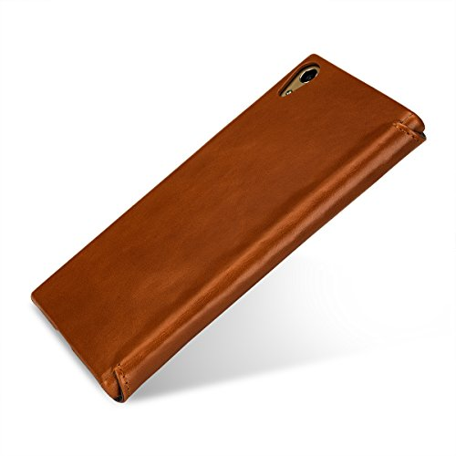 Sony Xperia XA1 Funda Case, Keledes hecha a mano Funda Piel genuino Carcasa Cubierta Cuero Protective Billetera Case (Wallet leather case) Folio Flip Cover con Función de modo de sueño para Sony Xperi Wallet Cognac