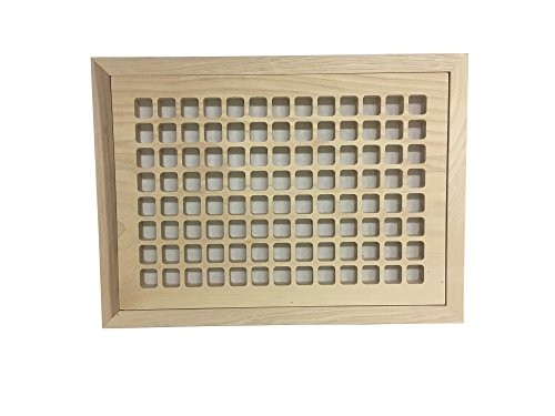 - 8 Inch x 12 Inch Hickory Hardwood Vent Floor Register Flush Mount with Frame, Eggcrate Style, Unfinished