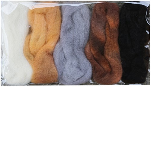 Needle Felting Roving Fiber for Felting Spinning Weaving Dryer Balls Soap Making and Embellishments. Color Sampler Pack of BFL Wool Hand Dyed in USA by Living Dreams. Natural
