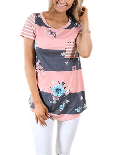 LOSRLY+Women+Floral+Printed+Tops+Striped+Blouse+Short+Sleeve+T+Shirt+With+Pocket-Floral+Gray+XL+16+18