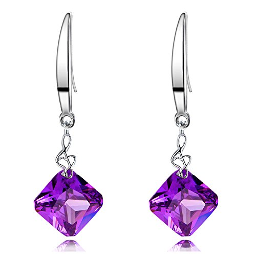 Sephla White Gold Plated 12mm Square Shape Naked Drill Super Sparkle Crystal Dangle Earrings For Women (Square Purple) - Sparkle Super Shapes
