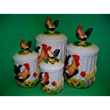 ROOSTER & HEN 3D Canisters Set of 4 Roosters & Hens NEW!