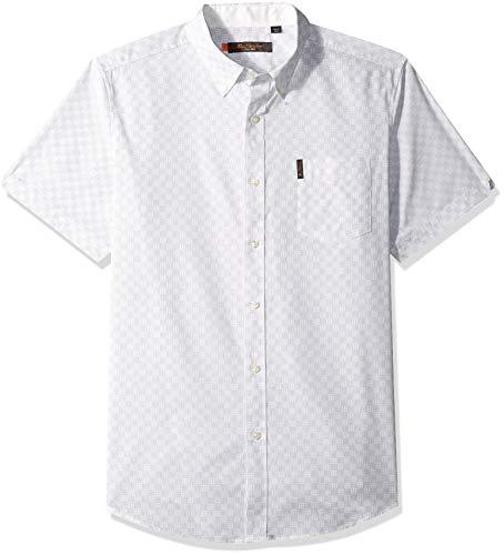 Ben Sherman Men's SS Optic Check PRNT Shirt, White, M