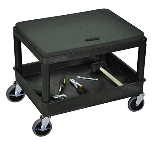 DMD Mechanics Seat with Tub Shelf, 4 inch Easy Rolling Wheels,