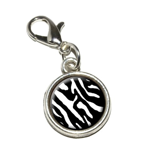 Graphics and More Zebra Print Black White Antiqued Bracelet Pendant Zipper Pull Charm with Lobster Clasp