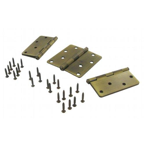 (Stanley Hardware S826-933 4 Inch Solid Brass 1/4-Inch Radius Door Hinge Antique Brass Set of 3)