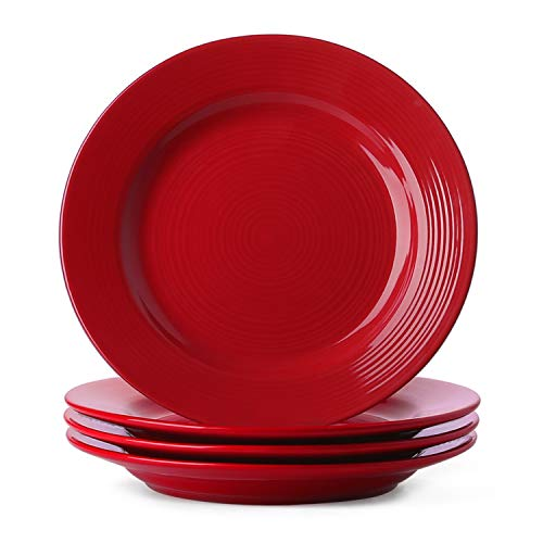 Le Tauci 4 Piece 10 Inch Ceramic Dinner Plate Set, Red