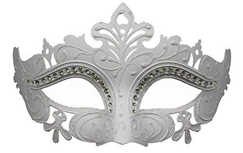 Hagora, Women's Enigmatic Ice Princess White Tone Rhinestoned Venetian (Masked Ball Outfit)
