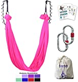 Aerial Yoga Hammock 5.5 Yards Premium Aerial Silk Fabric Yoga Swing for Antigravity Yoga Inversion Include Daisy Chain,Carabiner and Pose Guide (Hot Pink)