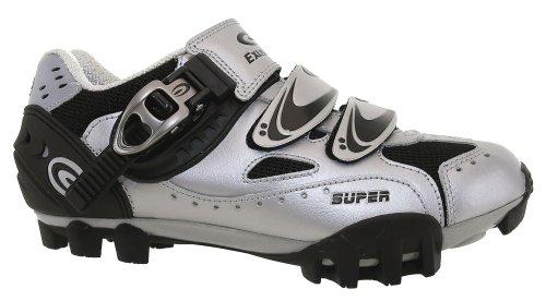 Exustar zapatos de la bici del mtb, plata/negro, cierre de velcro con sistema de trinquete de bloqueo con 2