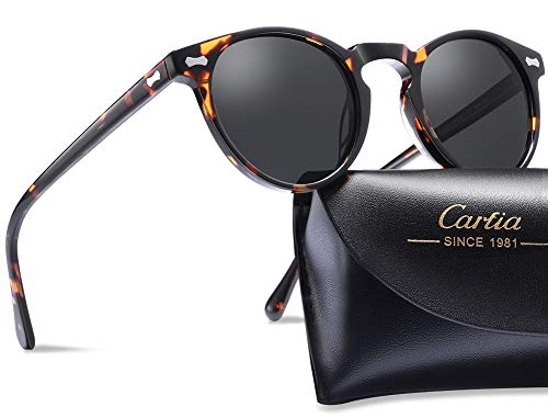 (Carfia Polarized Sunglasses for Men丨Vintage Round Sunglasses with Case丨100% UV400 Protection)