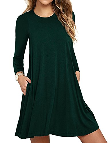 Unbranded* Women\'s Pockets Casual Swing T-Shirt Dresses Dark Green