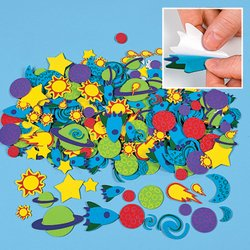 Fun Express 500 Foam OUTER SPACE Self Adhesive SHAPES/Planets/Solar System/ARTS & Crafts ACTIVITY/SCRAPBOOKING Supplies/STICKERS by Fun Express