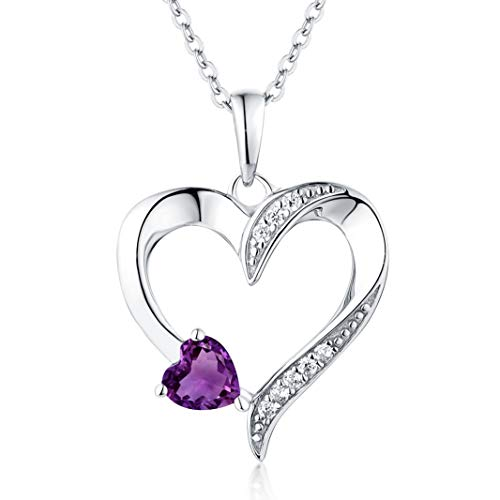 YL Women's Amethyst Necklace Sterling Silver Heart Pendant Cubic Zirconia Purple Crystal Jewelry