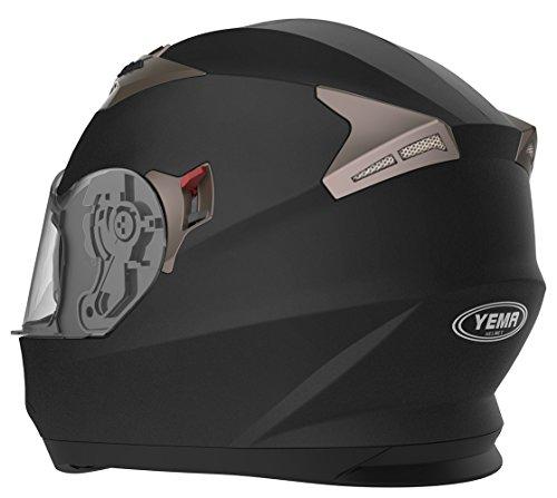 Amazon.es: YEMA Casco Moto Integral ECE Homologado YM-829 Casco de Moto Scooter para Mujer Hombre Adultos con Doble Visera -Negro Mate-M