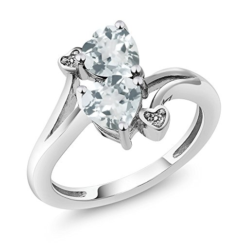 1.37 Ct Heart Shape Sky Blue Aquamarine 925 Sterling Silver Ring With Accent Diamond
