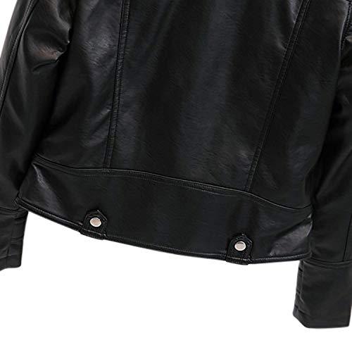 Casuales Mujer Chaquetas Chaqueta Jacket Ocasional Mujeres Sintético Moda Outerwear Cómodo Con Primavera Festivo Laterales Larga Bolsillos Otoño Biker De Negro Cazadoras Elegantes Manga Cuero qrxACdwv0q