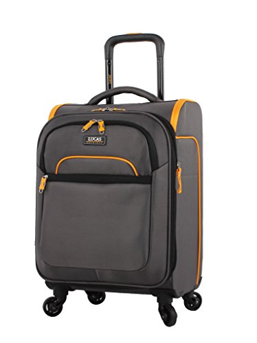Lucas Luggage Air Cube 20 inch Carry On Ultra Lightweight Expandable Suitcase with Spinners