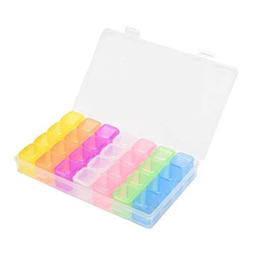 Plastic 28 Slots Nail Art Tools Jewelry Storage Box Case Organizer (12 Compartment Storage)