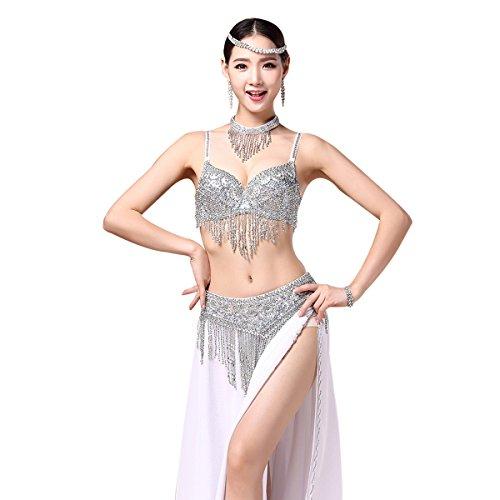 Sequin Strapless Bra - Belly Dance Carnival Beaded Dance Tops Exotic Bras and Belt Fringe Tassel Dancing Bra with Necklace(Silver, Medium)
