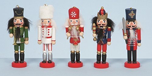 5 Wooden Hanging Nutcracker Christmas Decorations by Christmas Decorations Premier