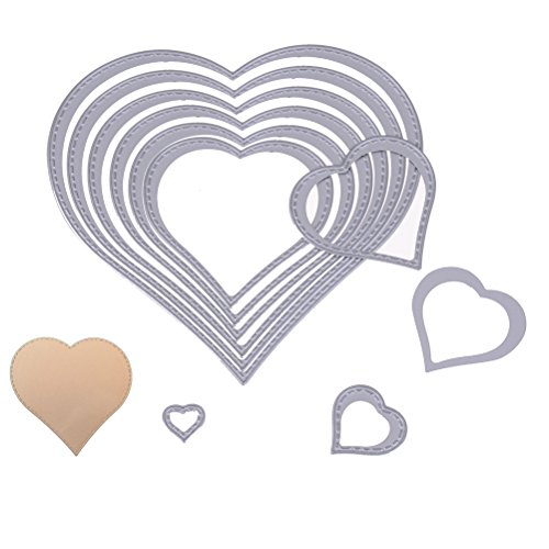 Pack of 10 Heart Shape Cutting Dies Stencil Template Mould for DIY Scrapbook Metal Embossing Album Paper Card Craft Gift
