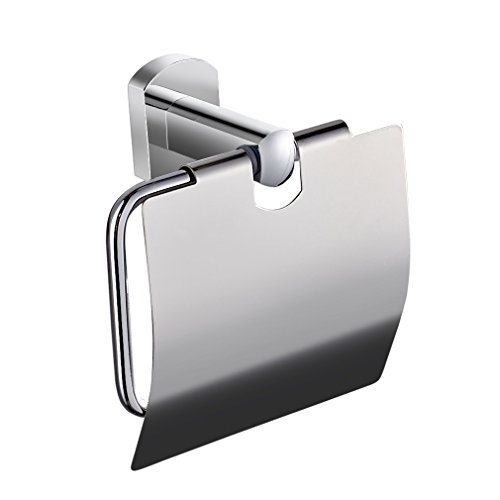 ROVATE Toilet Paper Holder Single Roll with Cover, Bathroom Tissue Paper Hanger Wall Mount, Stainless Steel Chrome