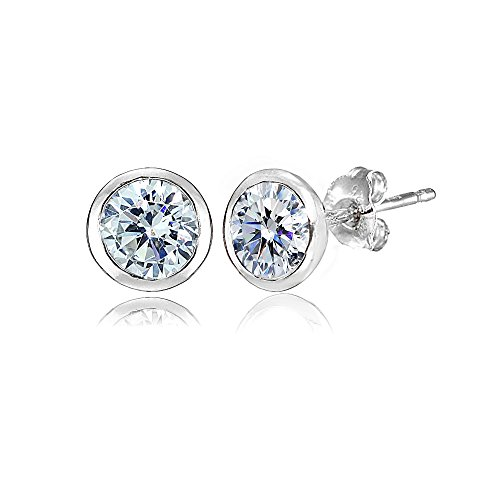 Sterling Silver 5mm Bezel-set Martini Clear Stud Earrings created with Swarovski Crystals (Earring Bezel Swarovski)