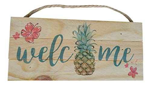 (California Seashells Wood Hanging Welcome Sign with Pineapple Beach Decor, 10 x 4.5 Inches)