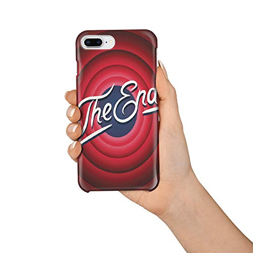 Compatible with iPhone 7 Plus Case and iPhone 8 Plus Case, Hard PC Back Phone Case with Tempered Glass Screen Protector Movie Ending Slogan The End Shockproof Protective Cover]()
